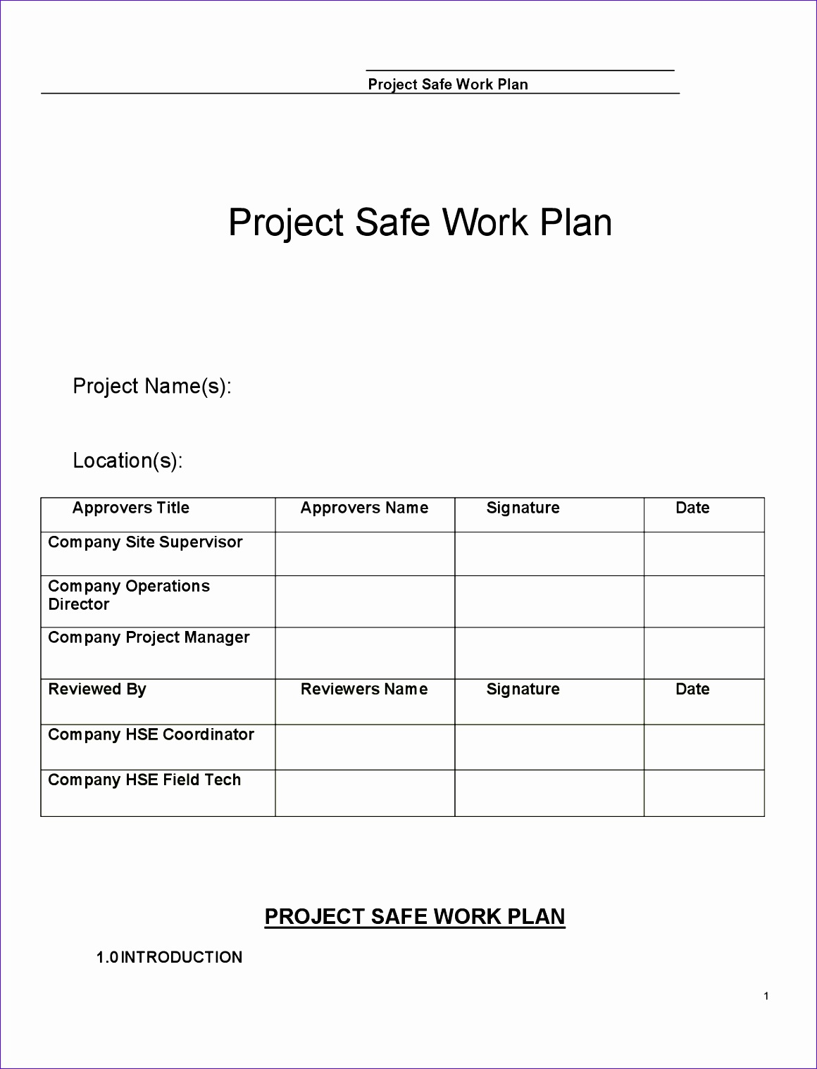 construction safe work plan template