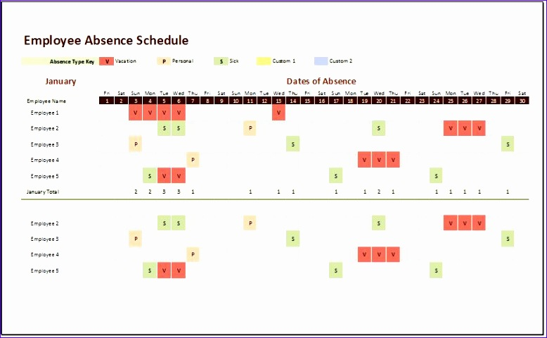 Employee Absence Schedule 2017
