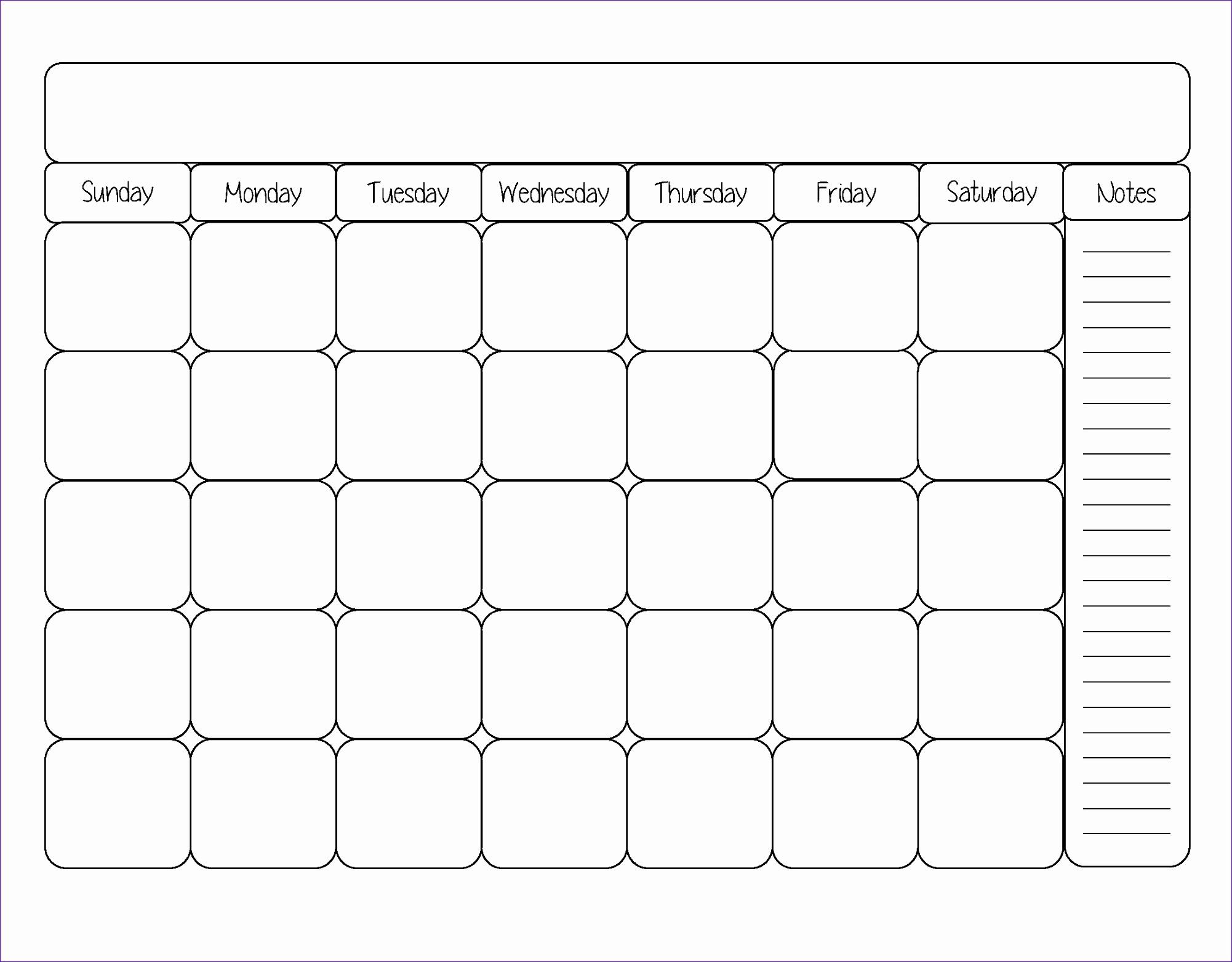 Free Printable Blank Calendar Template
