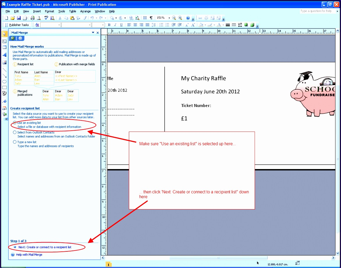 raffle ticket mail merge step1