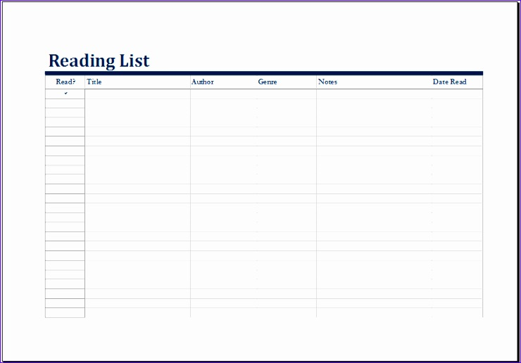 10 reading list template exceltemplates exceltemplates