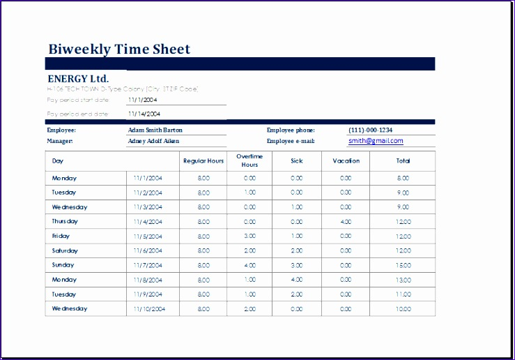 biweekly time sheet