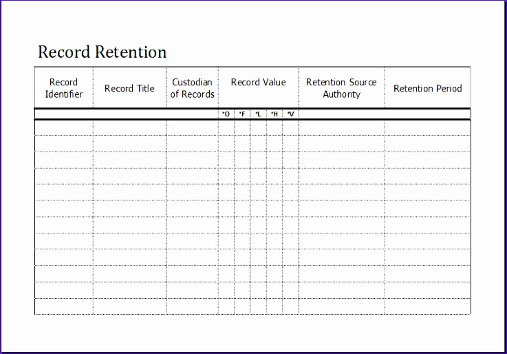 Record Retention Schedule Vlccd Lovely Record Retention Schedule Template for Excel