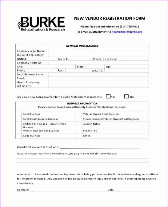 New Vendor Registration Form