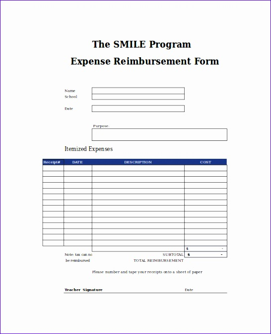 Employee Expense Reimbursement Form Template