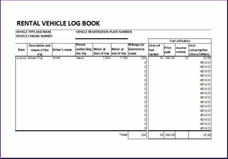 Rental vehicle log book