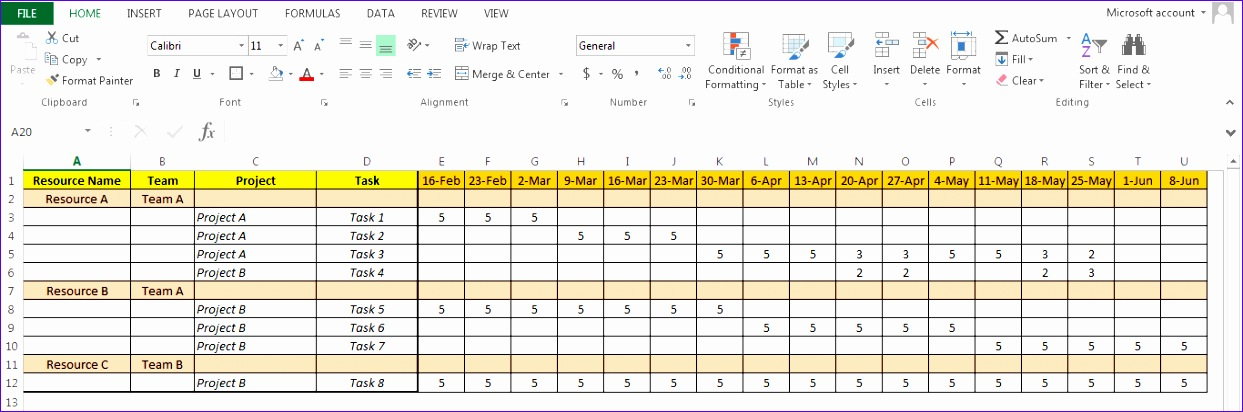 8 resource forecasting excel template exceltemplates for Project forecasting template
