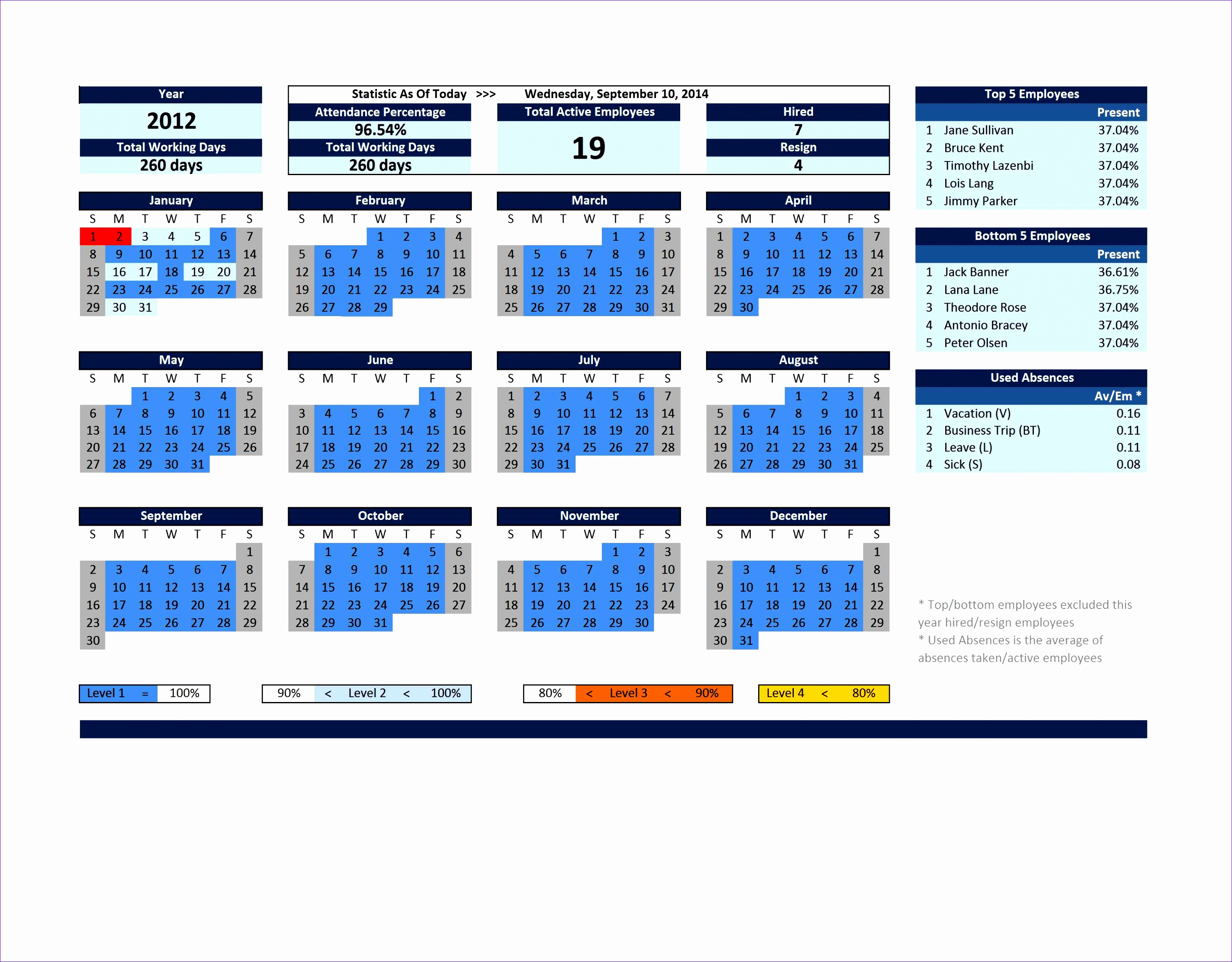 Excelindo Employee Attendance Calendar FY Lite V2 45