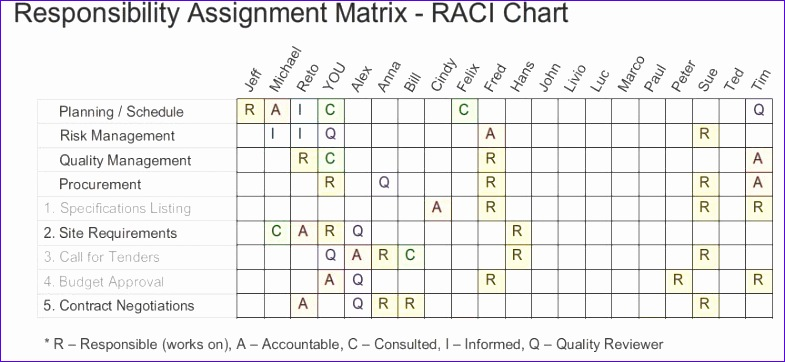 RACIQ Chart Responsibility Assignment Matrix