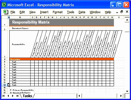 Excel Matrix Template