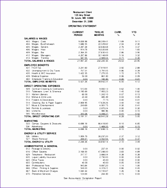 10 restaurant income statement template excel for Earnings disclaimer template