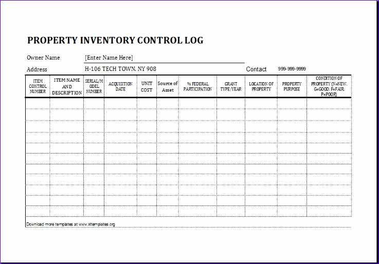 Restaurant Inventory Znsdx Ideas Property Inventory Log Template for Excel