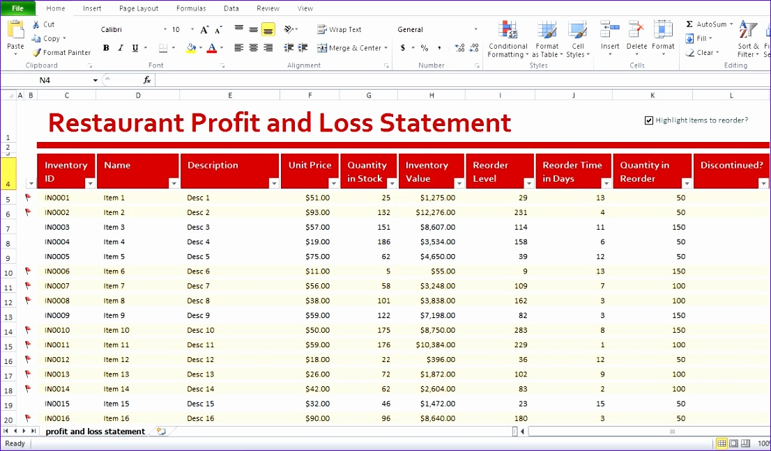 Restaurant Monthly Profit and Loss Statement Template for Excel Gthxb Elegant Restaurant Profit and Loss Statement Template Excel
