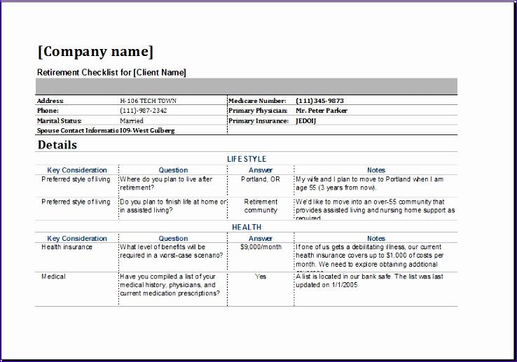 8 retirement checklist template