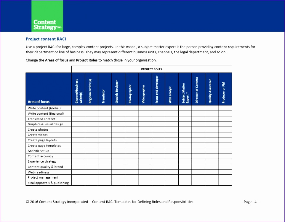Raci Matrix Template Excel Download