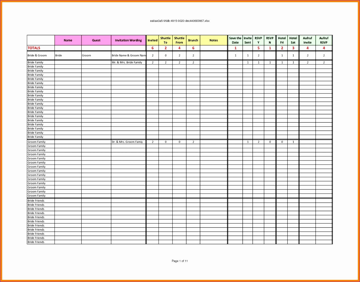 rsvp list template 8