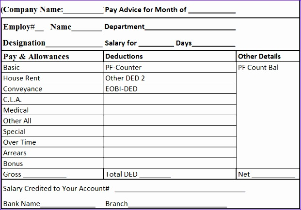 uncategorized efficient template example of salary slip with table format of pay and allowances also deductions