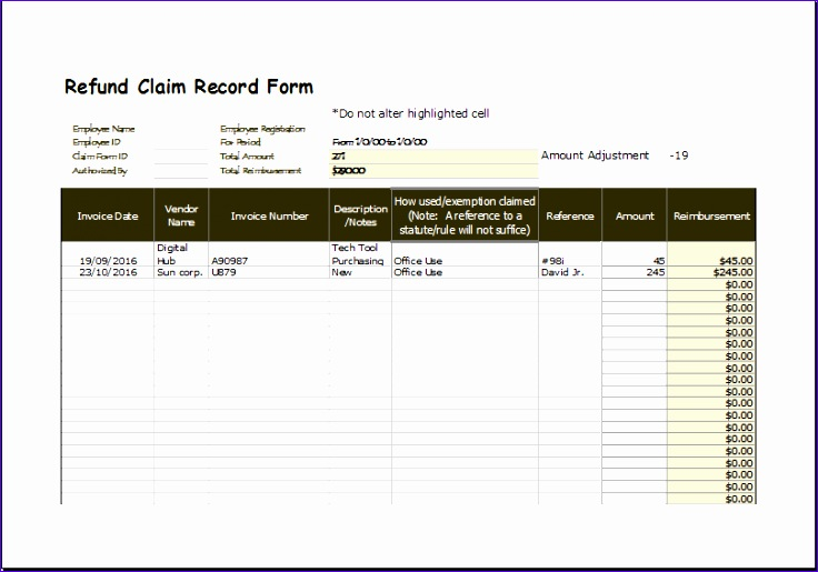 Sales Invoice Sample Fssho Best Of Refund Claim Record form Excel Template