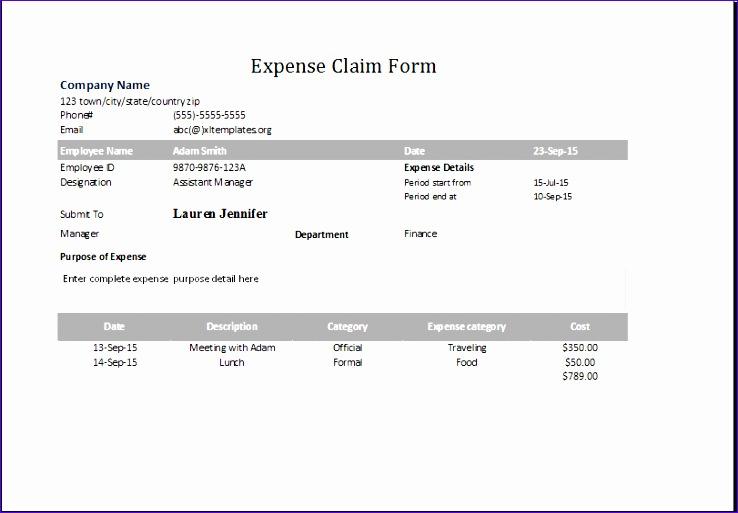 expense claim form 1