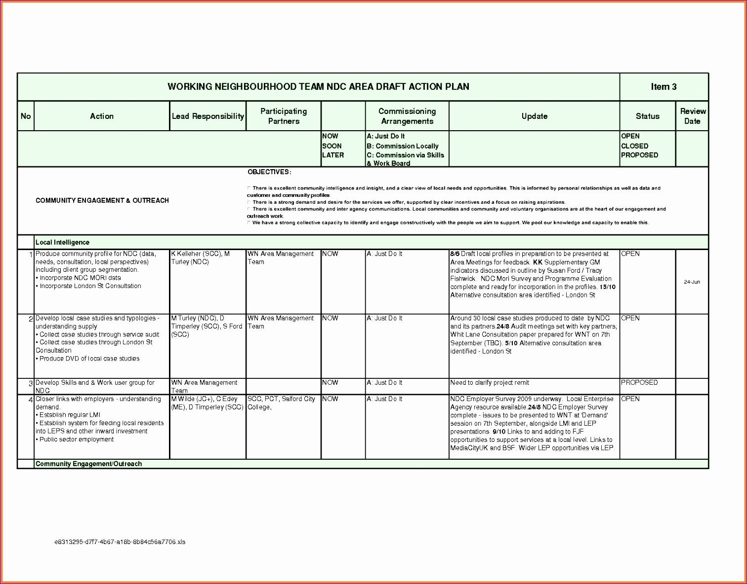 action plan template excel
