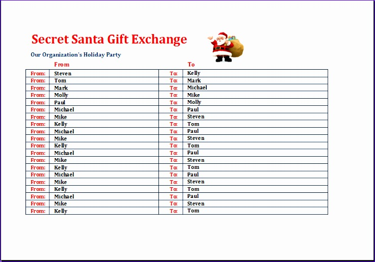 secret santa t exchange list