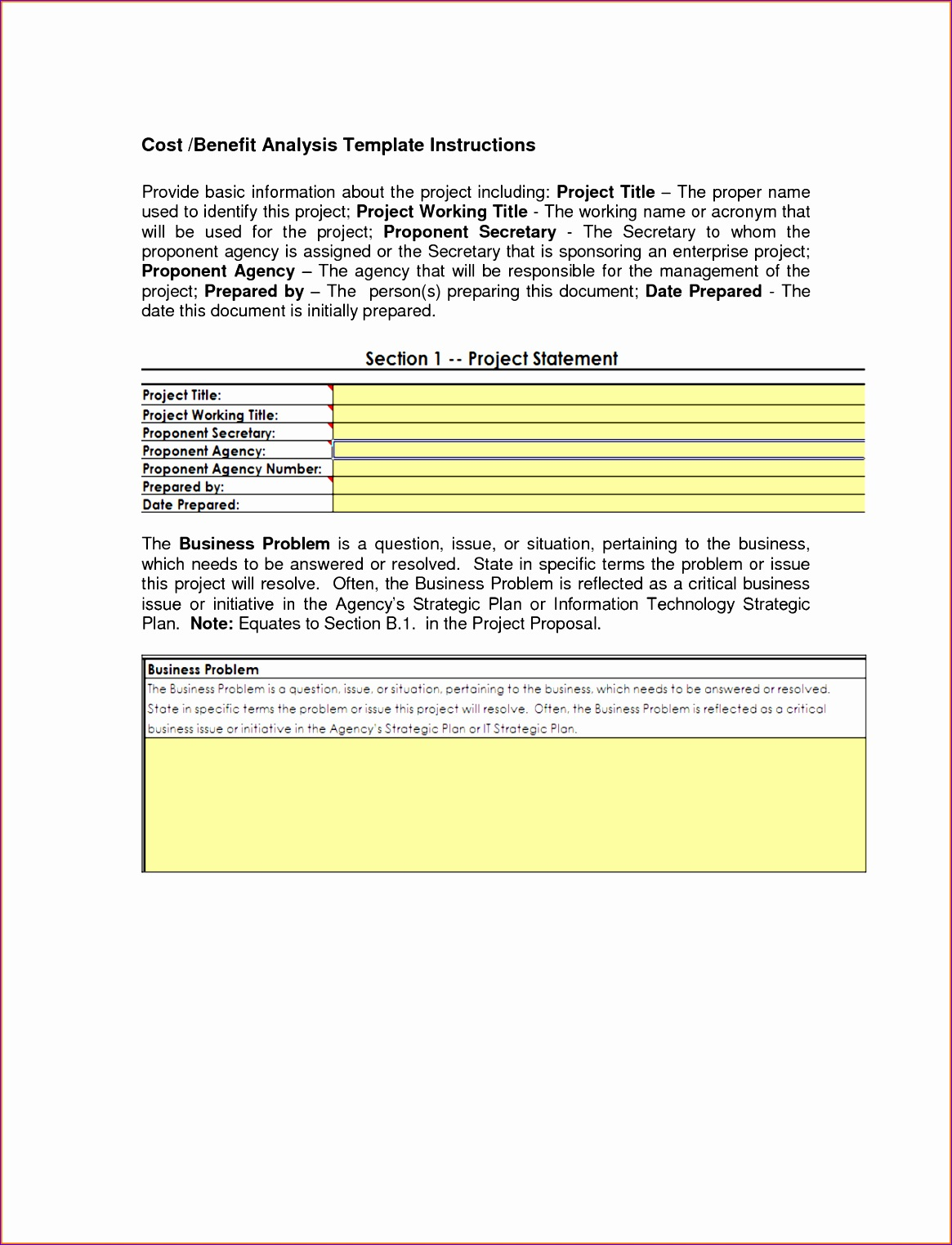 cost benefit analysis template excel 6