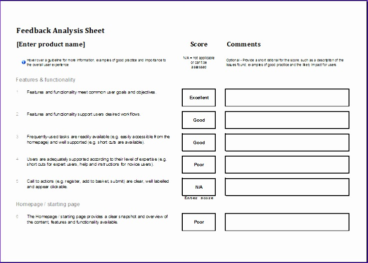 Feedback analysis sheet