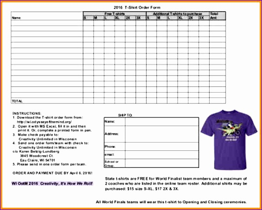 2016 t shirt order form template free