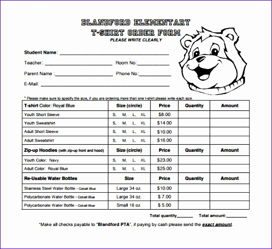 Blandford Element Ary T Shirt Order Form Template Download