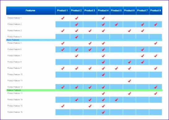 product parison chart