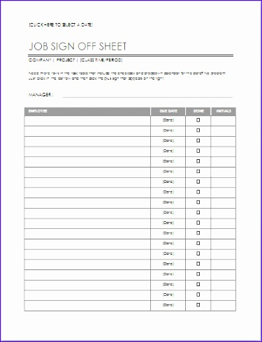 Employee Job Sign f Sheet Template
