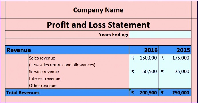 Simple Profit and Loss Excel Template Nssll Fresh Download Profit and Loss Account Excel Template Exceldatapro