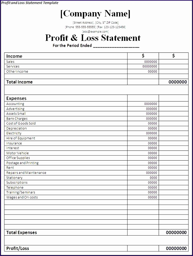 Simple Financial Report Template Monthly Statement Template Restaurant Profit And Loss Template Excel
