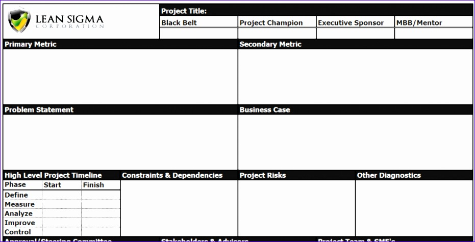 Project Charter Excel Template