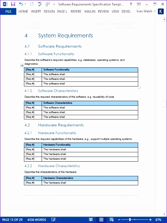 10 software requirements template excel exceltemplates for Srs software requirement specification template