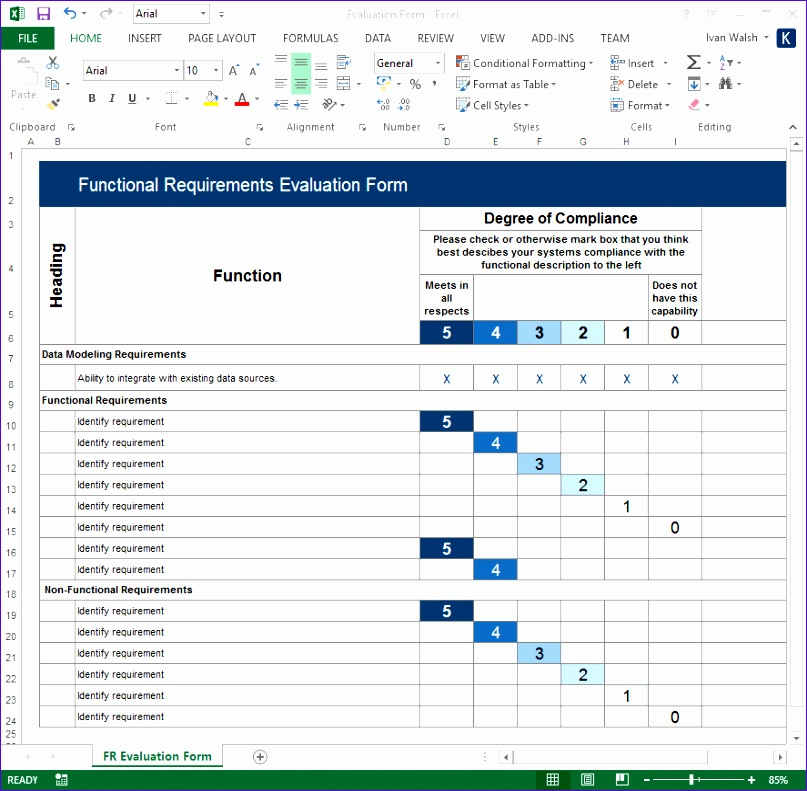 Software Requirements Template Excel Shjuk Luxury Functional