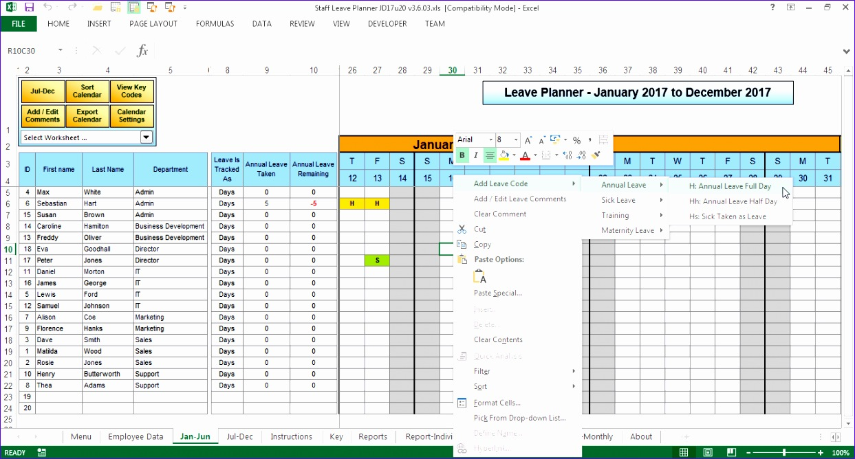 Excel Skills  Annual Leave Template