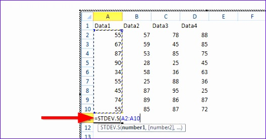 how to make a standard deviation graph on excel