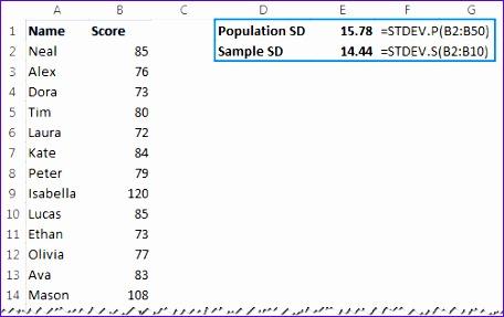 excel standard deviation formulas