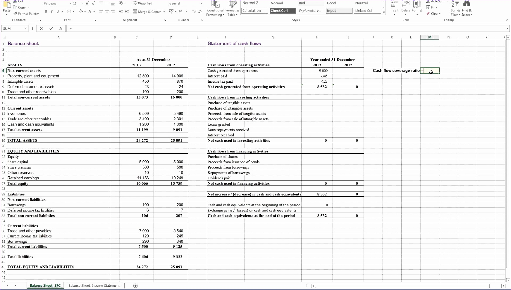 Statement Of Cash Flows Excel Template Gpcsc Unique Calculating Cash Flow Coverage Ratio In Excel