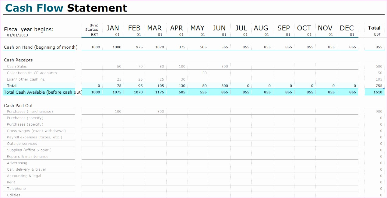 12 statement of cash flows template excel exceltemplates