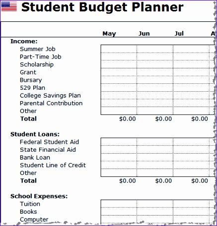 student bud planner usa spreadsheet