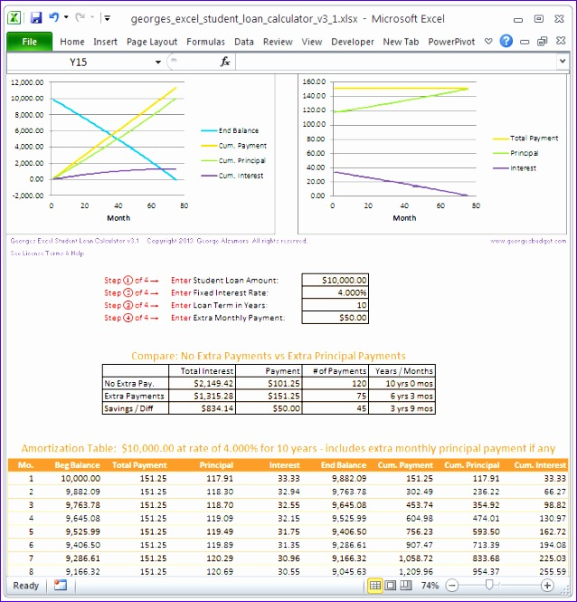 student loan calculator excel template