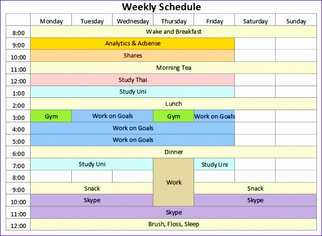 Study Schedule Template Excel Ksgqd Beautiful Weekly Agenda Template