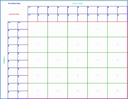Printable 25 Square Football Pool Sheet Template PDF Download