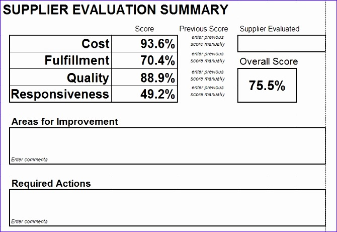 Supplier Evaluation Template Excel Ebwnh New Vendor Evaluation