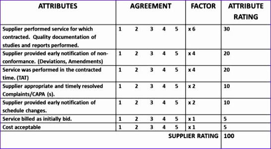 10 supplier performance measurement template excel for Software vendor selection criteria template