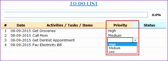 Excel To Do List Template Priority