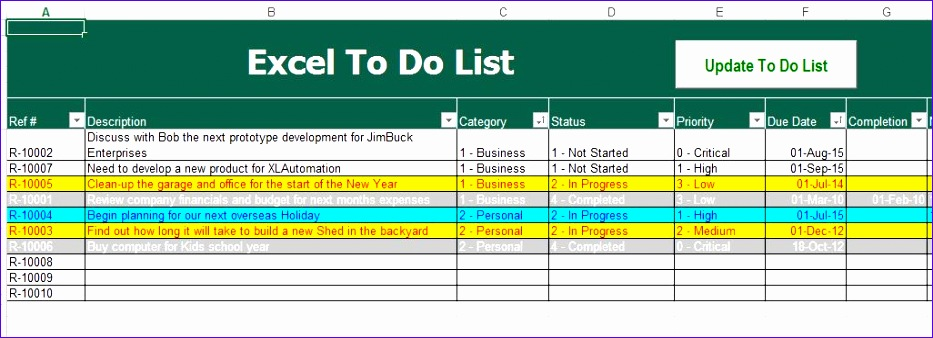 8 Things to Do List Template Excel - ExcelTemplates - ExcelTemplates