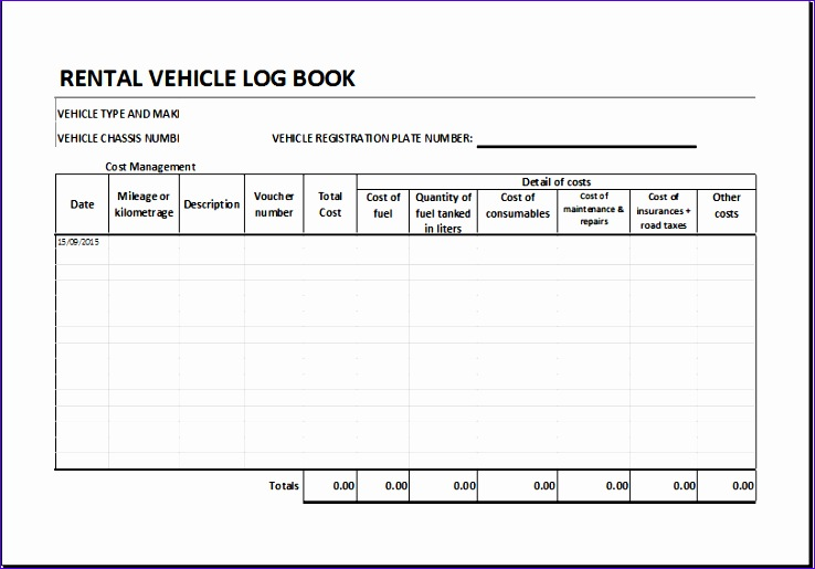 Rental vehicle log book 1